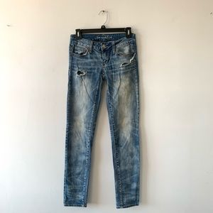 AEO Blue Low Rise Distressed Sexy Skinny Jeans 0